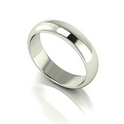 Love Story - 9ct white gold 5mm heavy d shaped wedding ring