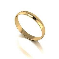 Love Story - 9ct gold 3mm d shaped wedding band
