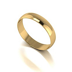 Love Story - 9ct gold 4mm d shaped wedding band