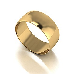 Love Story - 9ct gold 8mm d shaped wedding band