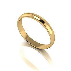 Love Story - 9ct gold 3mm med d shaped wedding ring