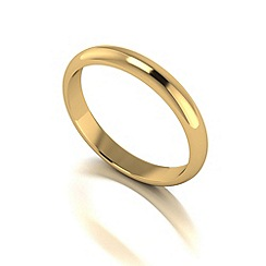 Love Story - 9ct gold 3mm heavy d shaped wedding ring