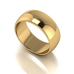 Love Story - 9ct gold 8mm heavy d shaped wedding ring