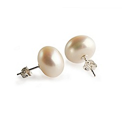 Love Story - Freshwater button pearl silver stud earrings