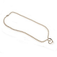 Love Story - 41cm fresh water white pearl and silver heart necklace