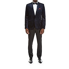 Burton - Blue printed midnight velvet blazer