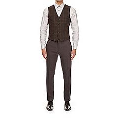 Burton - Brown check wool blend waistcoat