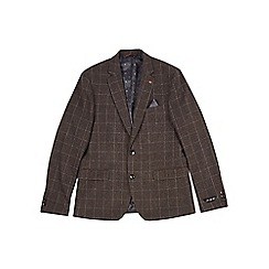 Burton - Brown wool blend checked blazer