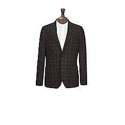 Burton - Charcoal grey wool blend check blazer