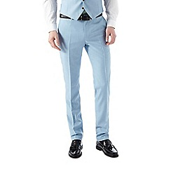 Burton - Skinny fit light blue textured suit trousers