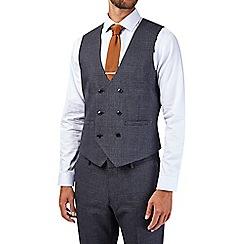 Burton - Skinny fit grey textured check waistcoat