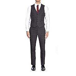 Burton - Dark grey skinny fit check waistcoat