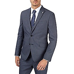 Burton - Blue and grey textured skinny fit suit jacket