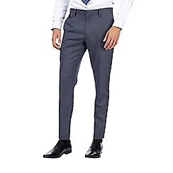 Burton - Blue and grey textured skinny fit suit trousers