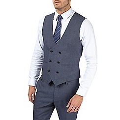 Burton - Blue and grey textured skinny fit waistcoat