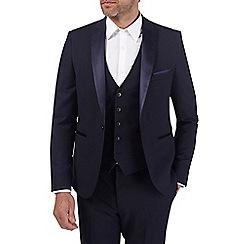 Burton - Navy dobby skinny fit tuxedo suit jacket