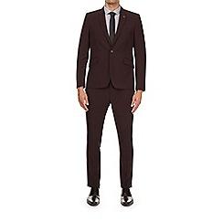 Burton - Burgundy skinny fit suit jacket