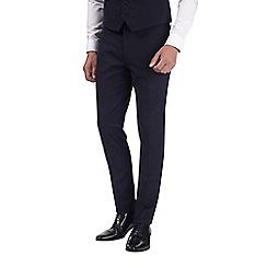 Burton - Navy dobby skinny fit tuxedo trousers