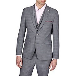 Burton - 3 Piece Grey Slim Fit Check Suit