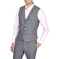 Burton - Grey slim fit check waistcoat