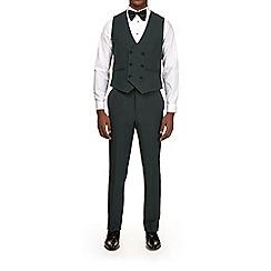 Burton - Dark green slim fit textured tuxedo waistcoat