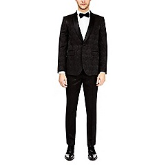 Burton - Black skinny fit floral suit jacket