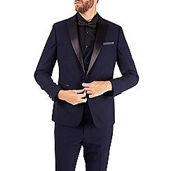 Burton - 2 Piece Skinny Fit Navy Dobby Tuxedo