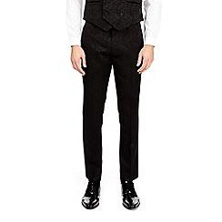 Burton - Black skinny fit floral tuxedo trousers