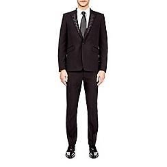 Burton - Black skinny fit textured embroidered collar lapel tuxedo suit jacket