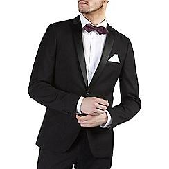 Burton - Black herringbone skinny fit tuxedo jacket