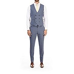 Burton - Blue puppytooth skinny fit waistcoat