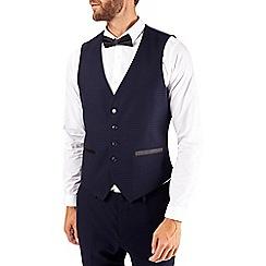 Burton - Navy skinny fit dobby tuxedo waistcoat