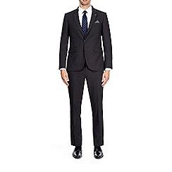 Burton - 3 piece dark grey slim fit mini textured suit