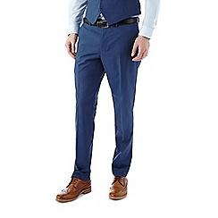 Burton - Slim fit blue textured suit trousers