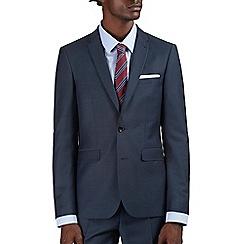 Burton - Slim Fit Steel Blue Textured Suit