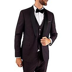 Burton - Burgundy slim fit textured tuxedo jacket