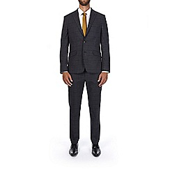 Burton - Grey and brown slim fit check suit jacket