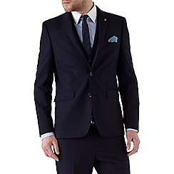Burton - Navy slim fit textured suit jacket