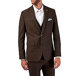 Burton - Slim fit brown donegal suit jacket