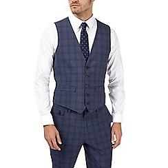 Burton - Slim fit blue prince of wales  check waistcoat