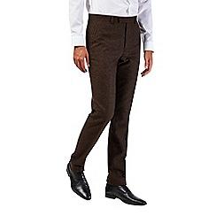 Burton - Slim fit brown donegal suit trousers