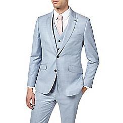 Burton - 2 Piece Pale Blue Slub Slim Fit Suit
