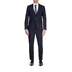 Burton - 3 piece blue and black slim fit check suit