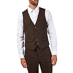 Burton - Slim fit brown donegal waistcoat
