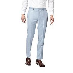 Burton - Pale blue slub slim fit suit trousers
