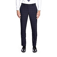 Burton - Blue and black slim fit checked suit trousers