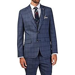 Burton - Slim fit blue check suit jacket