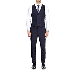 Burton - Blue and black slim fit checked waistcoat