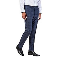 Burton - Slim fit blue check suit trousers