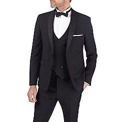 Burton - Black textured slim fit tuxedo jacket